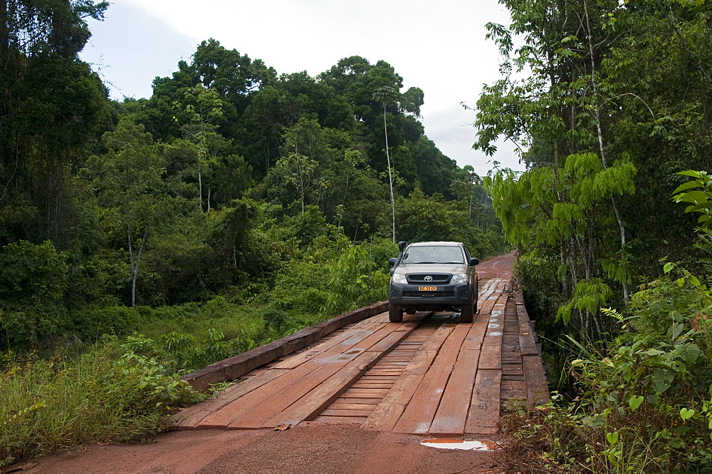 Crossing a bridge on the main highway through Guyana's rainforest, Guyana, South America