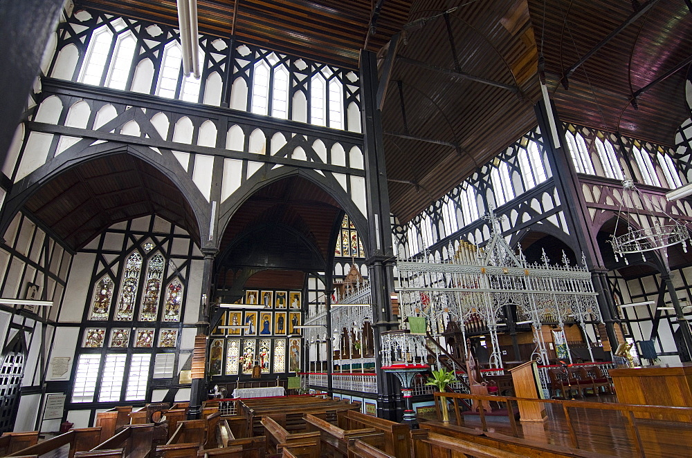 Interior of St. George's cathedral, one of the world's tallest wooden buildings, Georgetown, Guyana, South America
