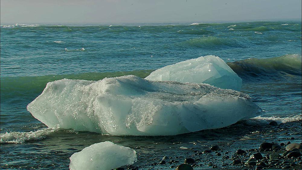 icebergs washed ashore. Iceland