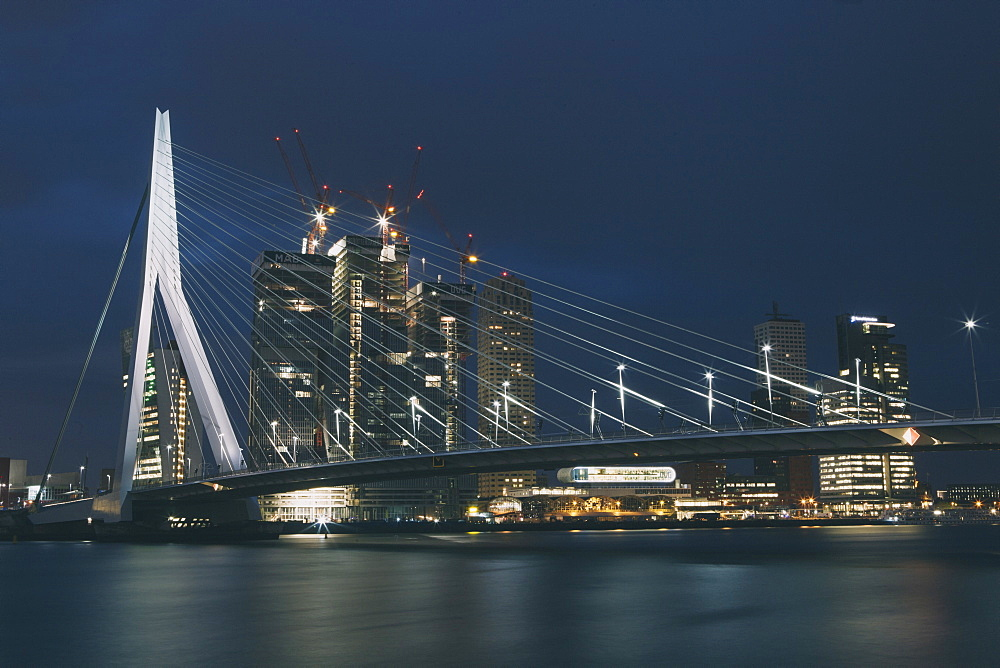 Erasmusbrug (Erasmus Bridge) crossing the Nieuwe Maas River, at night, Rotterdam, South Holland, The Netherlands (Holland), Europe  - 974-382
