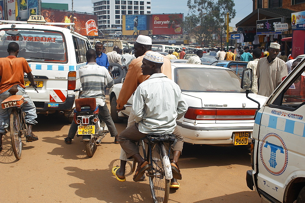 A traffic Jam around the commercial centre of Kampala, Uganda's Capitol City.  Chaos on the roads are commonplace and cycling is often the best form of transport. Kampala, Uganda, East Africa