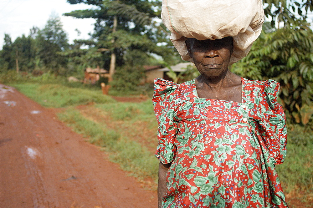Old woman in bright dress is carrying her load on top of her head.  On the outskirts of Jinja, Uganda. Jinja, Uganda, East Africa