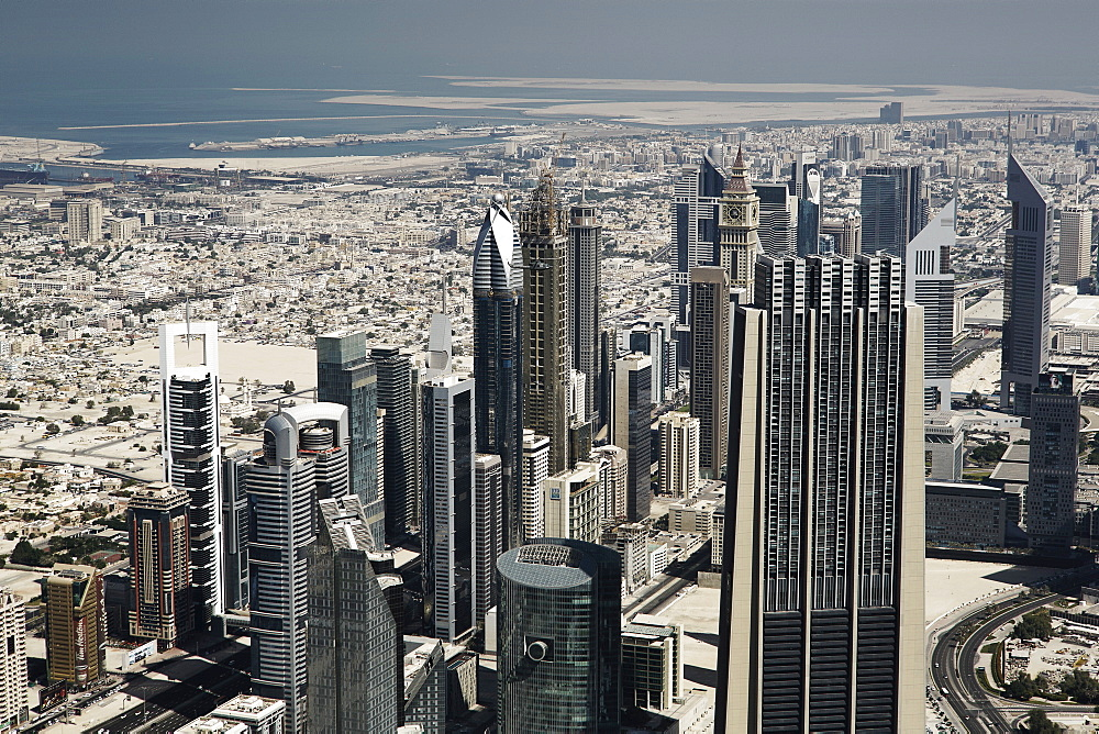 Views of downtown Dubai from the worlds tallest building the Burj Khalifa, Dubai, United Arab Emirates, Middle East