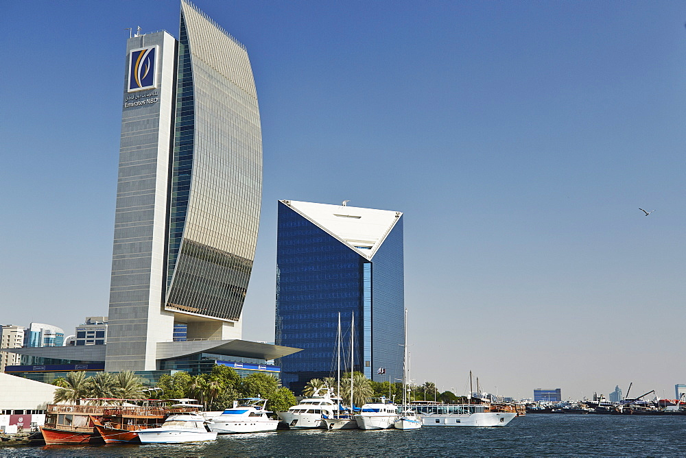 Emirates NBD and Dubai Chamber of Commerce buildings, Dubai Creek, Dubai, United Arab Emirates, Middle East