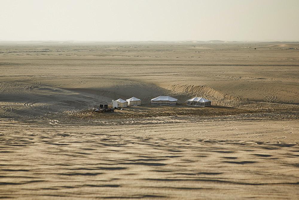 Settlements in the Qatari desert, nomadic culture still evident in the desert, Qatar, Middle East