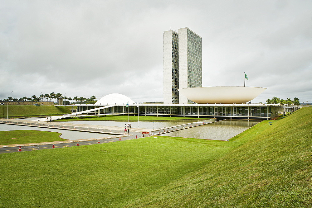 National Congress designed by Oscar Niemeyer in 1958 epitomises the design ethic and is at the heart of the Pilot Plan, Brasilia, UNESCO World Heritage Site, Brazil, South America