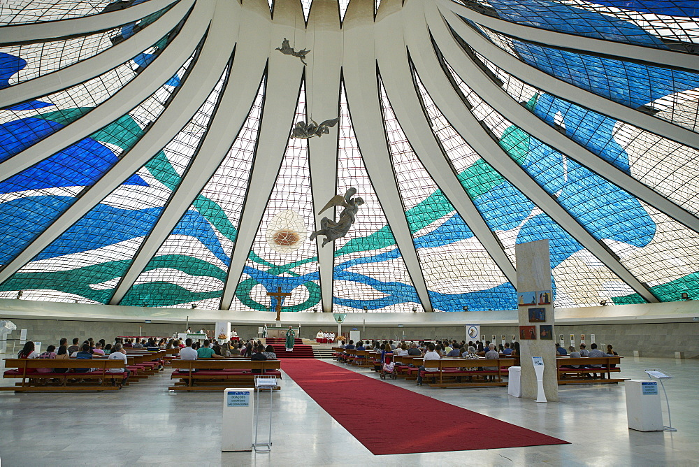 Brasilia is the federal capital of Brazil; Inside the Metropolitan Cathedral designed by Oscar Niemeyer (1959)