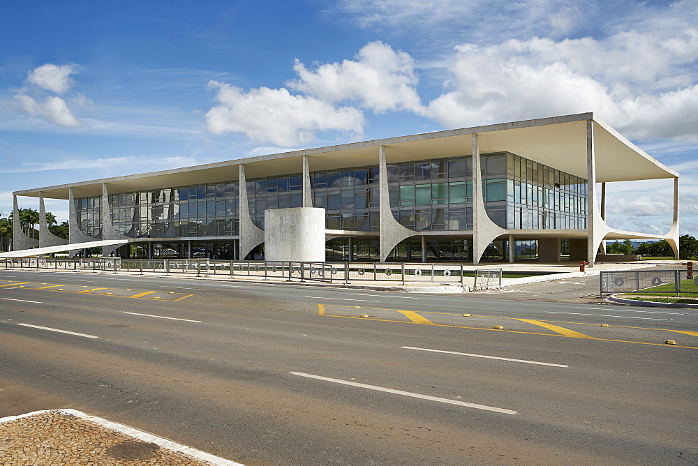 Brasilia is the federal capital of Brazil; The Planalto Palace designed by Oscar Niemeyer in 1958