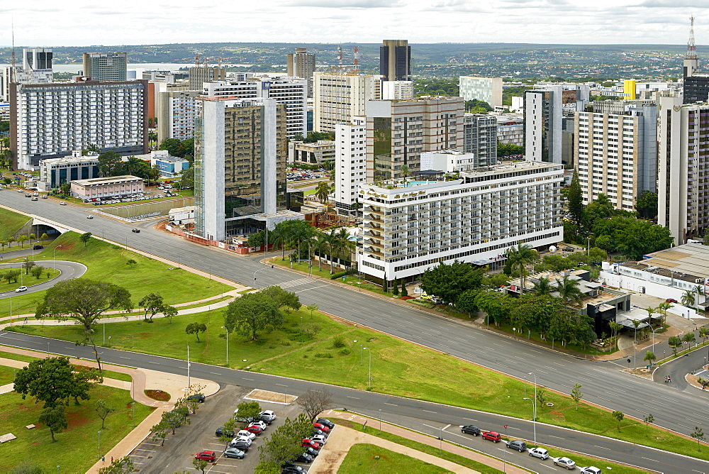 Brasilia is the federal capital of Brazil and seat of government of the Federal District; views of the Hotel sector south.