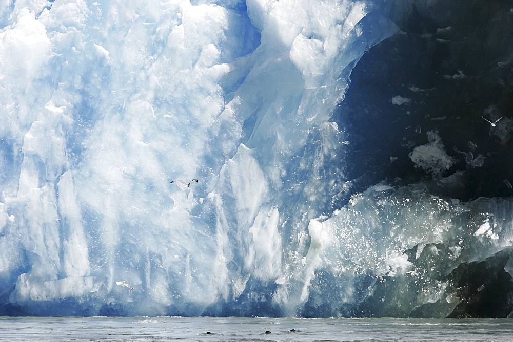 The face of the Sawyer Glacier, a tidewater glacier at the end of Tracy Arm in Southeast Alaska, USA.