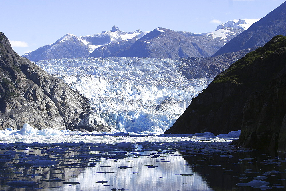 The Sawyer Glacier, a tidewater glacier at the end of Tracy Arm in Southeast Alaska, USA.