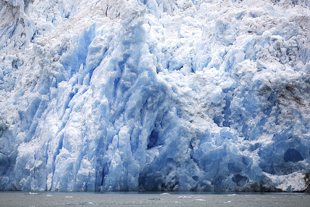 The face of the Le Conte Glacier in Le Conte Bay, just outside Petersburg in Southeast Alaska, USA. Le Conte glacier is the southernmost tidewater glacier in the northern hemisphere.