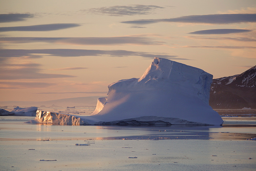Icebergs and bergy bits floating in the Weddell Sea in and around the Antarctic Peninsula during the summer months.