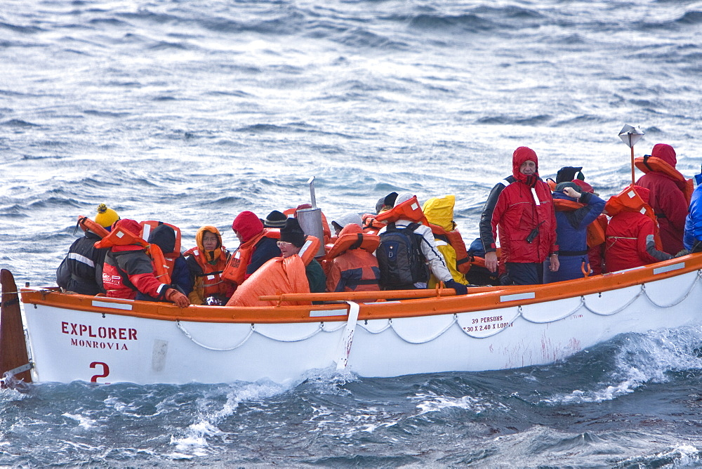 Images from November 23, 2007 of the rescue of 154 people from the sinking expedition ship Explorer in Antarctica. All 154 people were in lifeboats and Zodiacs as of 3:00AM local time. Two rescue boats arrived on the scene at 6:30AM local time. The first was the Norwegian Cruise ship Nordnorge and the second was the Lindblad Expeditions ship National Geographic Endeavour. All 154 people were safely transferred to the Nordnorge. These images are taken from the bow of the National Geographic Endeavour. The Explorer continued listing and taking on water, finally sinking later that day.