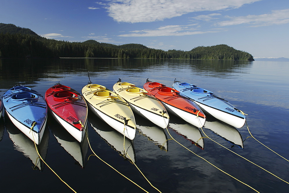 Kayaks at anchorage in Southeast Alaska. Property Released by owner Dan Blanchard, American Safari Cruises.