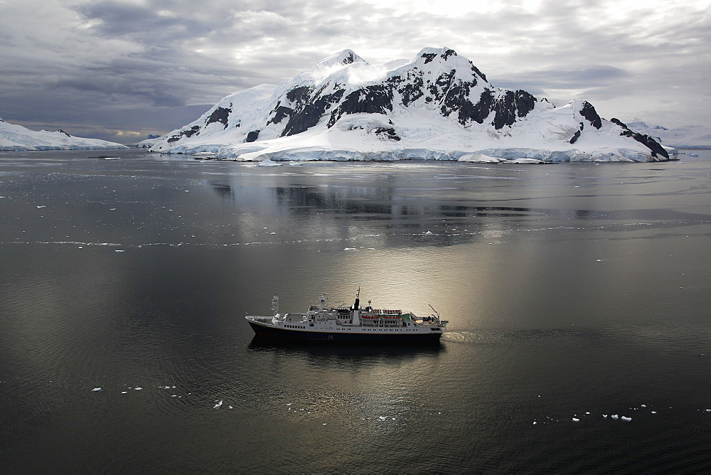 The Lindblad Expedition ship MS Endeavour in Paradise Bay on the Antarctic Peninsula.