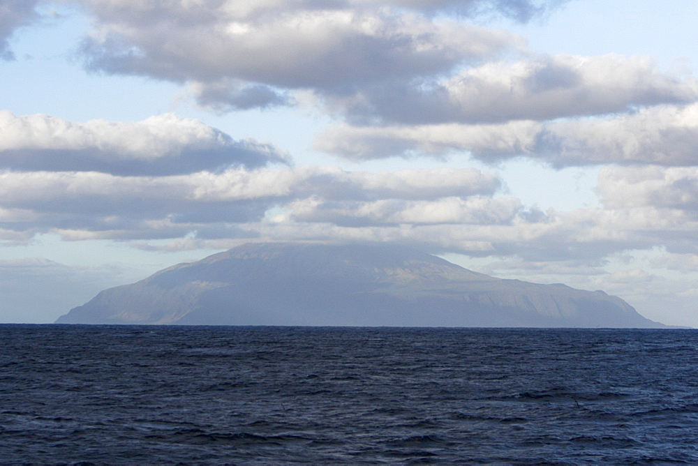 Approaching the island of Tristan da Cunha from the south, claimed to be the most remote inhabited island in the world.