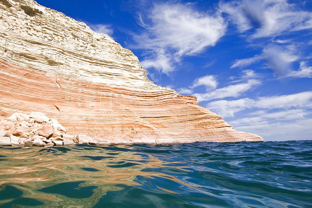 The beautiful sandstone cliffs at Punta Colorado (Red Point) on Isla San Jose in the Gulf of California (Sea of Cortez), Baja California Sur, Mexico.