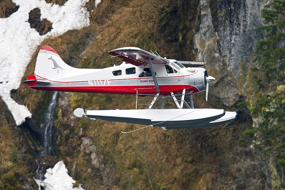 Float Planes operating in southeast Alaska, USA, Pacific Ocean. The float plane is one of the most common ways to travel in the calm waters of the inside passage and throughout Alaska.