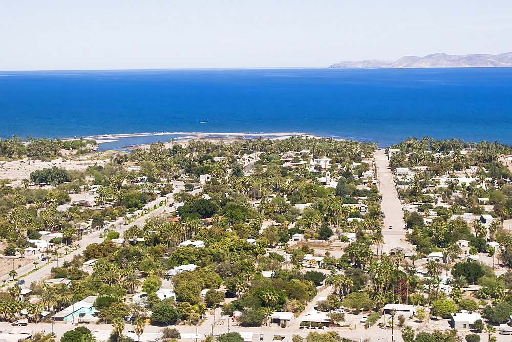 Aerial view of Loreto on the eastern side of the Baja California Peninsula, Baja California Sur, Mexico taken from a commercial flight. Loreto (or ConchGé¼) was the first Spanish settlement on the Baja California Peninsula. It served as the capital of Las Californias from 1697 to 1777, and is the current seat of the municipality of Loreto in the Mexican state of Baja California Sur. The city of 10,283 people (2005 census) is located on the coast of the Sea of Cort-+s, about 350 km (220 miles) north of the state capital, La Paz.The town was founded in 1697 by Jesuit missionaries.     (rr)