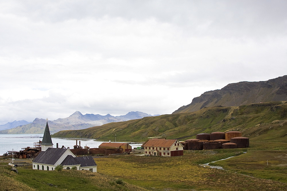 Views of Grytviken (Swedish for 'Pot Cove'), the principal settlement in the United Kingdom territory of South Georgia in the South Atlantic. It was so named by a 1902 Swedish surveyor who found old English try pots used to render seal oil at the site. It is the best harbour on the island, consisting of a bay (King Edward Cove) within a bay (Cumberland East Bay). The site is very sheltered, provides a substantial area of flat land suitable for building on, and has a good supply of fresh water. The settlement at Grytviken was established on November 16, 1904, by the Norwegian sea captain Carl Anton Larsen as a whaling station for his Compañía Argentina de Pesca (Argentine Fishing Company).