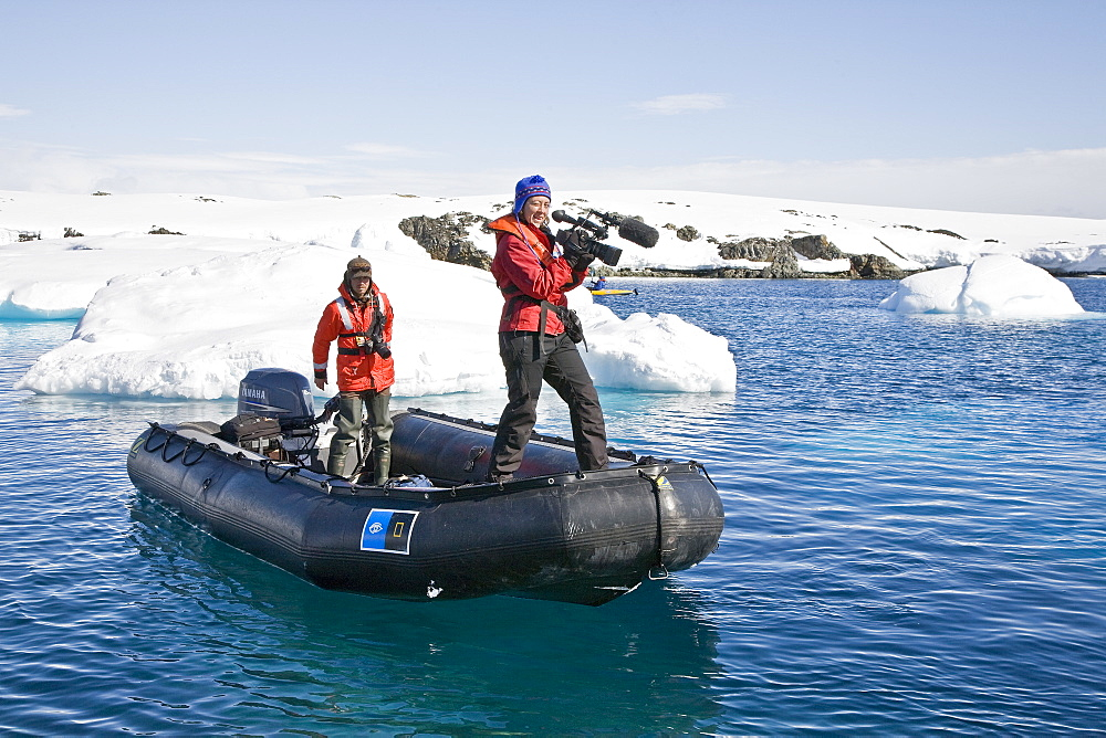 NAtural history staff from the Lindblad Expedition ship National Geographic Explorer doing various things in and around the Antarctic Peninsula in the summer months. Lindblad Expeditions pioneered Antarctic travel in 1969 and remains one of the premier Antarctic Expedition providers to this very day. No property or model releases are available for this image.