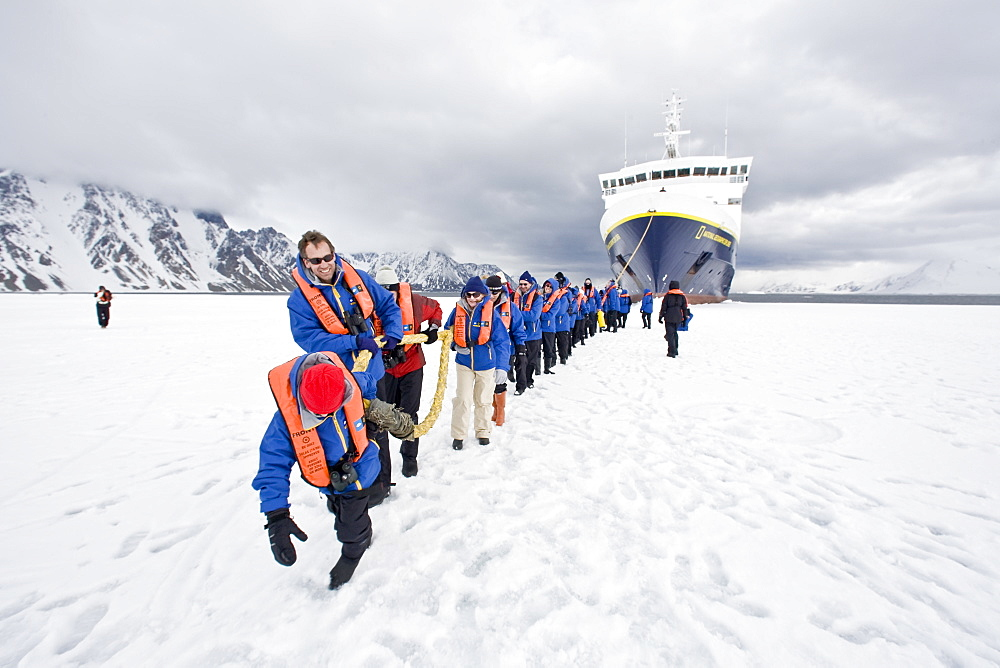 The Lindblad Expedition ship National Geographic Explorer operating in and around the Antarctic peninsula in Antarctica