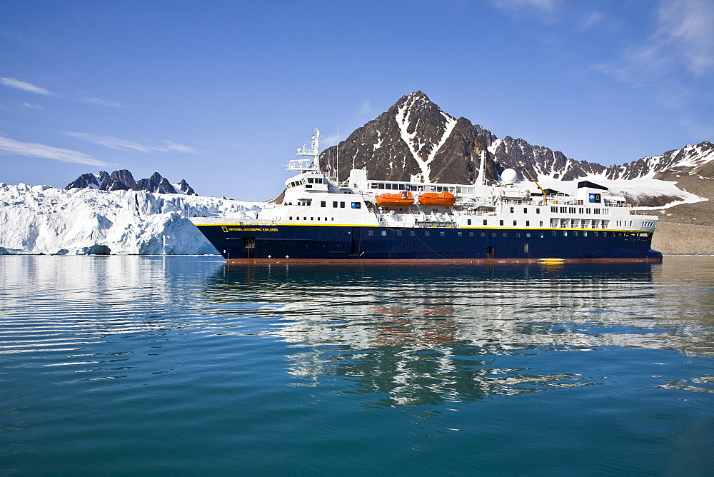 The Lindblad Expedition ship National Geographic Explorer doing various things in and around the Svalbard Archipelago in the summer months. Lindblad Expeditions has run expeditions to Svalbard since the 1980's and remains one of the premier Arctic Expedition providers to this very day. No property or model releases are available for this image.