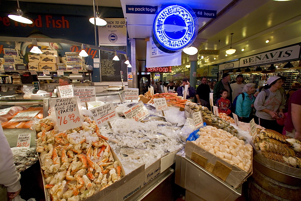 Views of the famous Pike Street Market in downtown Seattle, Washington State, USA. Pacific Ocean. This market is a huge destination for both residents and tourists to the Seattle area, selling fresh seafood and produce, as well as many other items of interest. No model or property releases are available for this image.