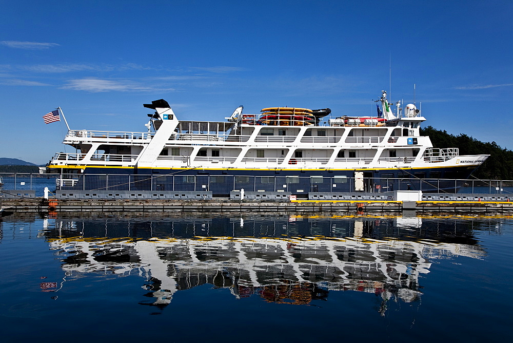 The Lindblad Expeditions ship National Geographic Sea Bird at dock in Friday Harbor on San Juan Island, Washington State, USA. No property or model release available for this image.