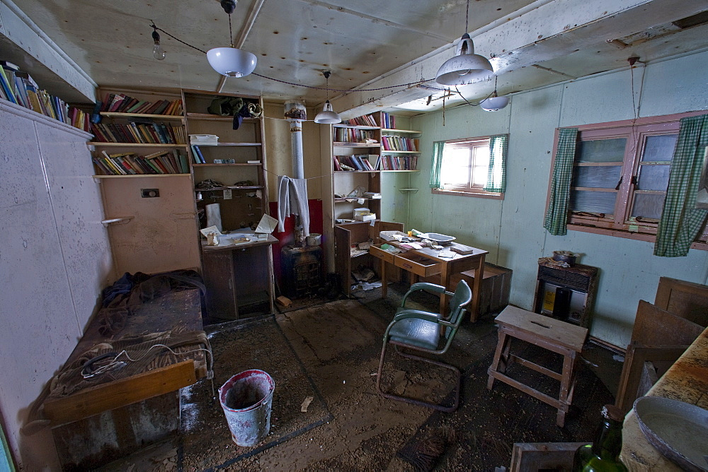 """Inside the abandoned Antarctic research British Base """"W"""" on Detaille Island, Lallemand Fjord, Loubet Coast, Antarctica"""