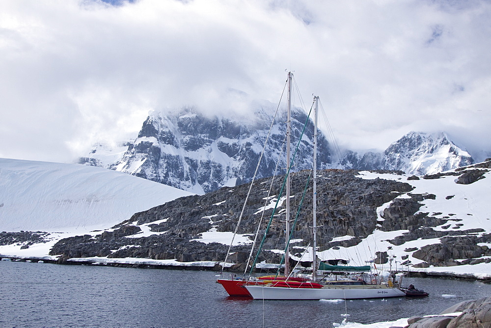 Private sailboats tied up at Alice Creek near Jougla Point, in Port Lockroy at the western end of Wiencke Island, Antarctica, Southern Ocean. MORE INFO Private yachts often use this anchorage for protection as it affords calm waters and protection from mo