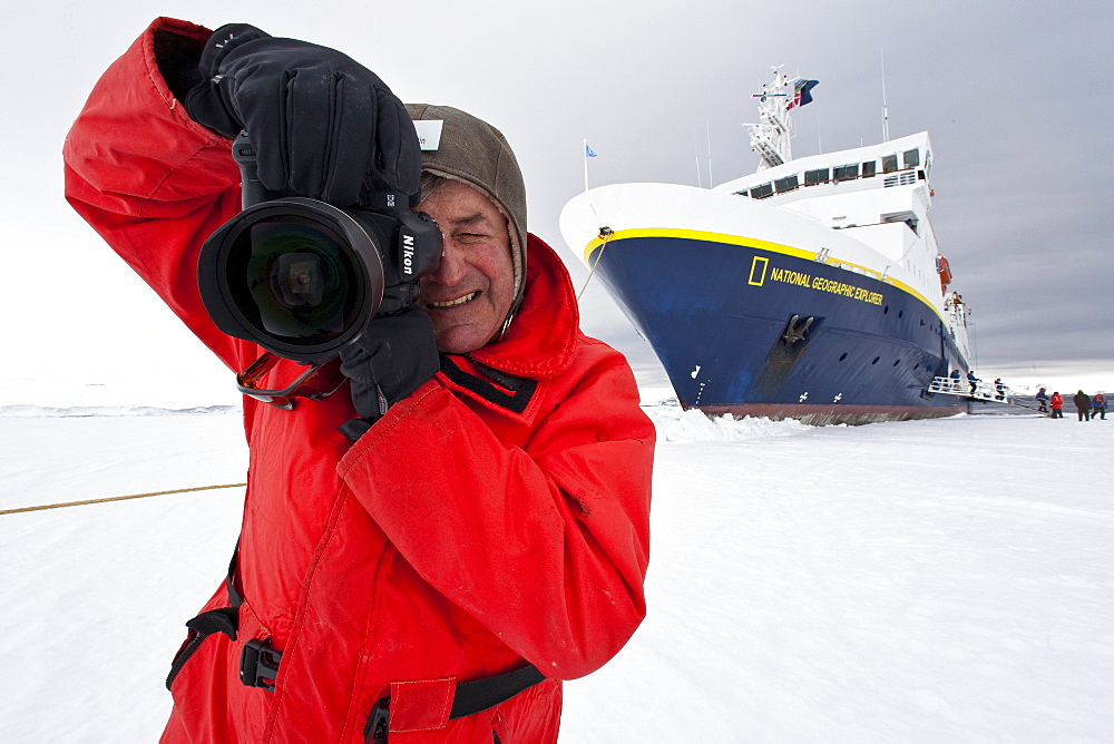 National Geographic photographer Flip Nicklin from the Lindblad Expedition ship National Geographic Explorer in Antarctica. MORE INFO Lindblad Expeditions pioneered Antarctic travel in December 1969 and remains one of the premier Antarctic Expedition providers to this very day.