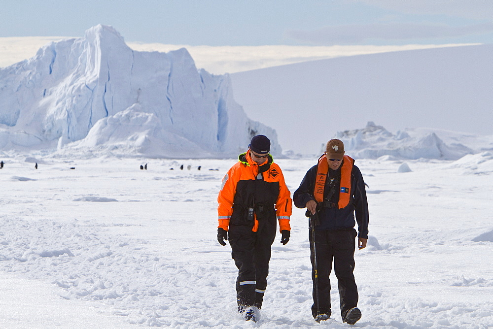 Captain Oliver Kruess (L) and Expedition Leader Tim Soper (R) from the Lindblad Expedition ship National Geographic Explorer in Antarctica