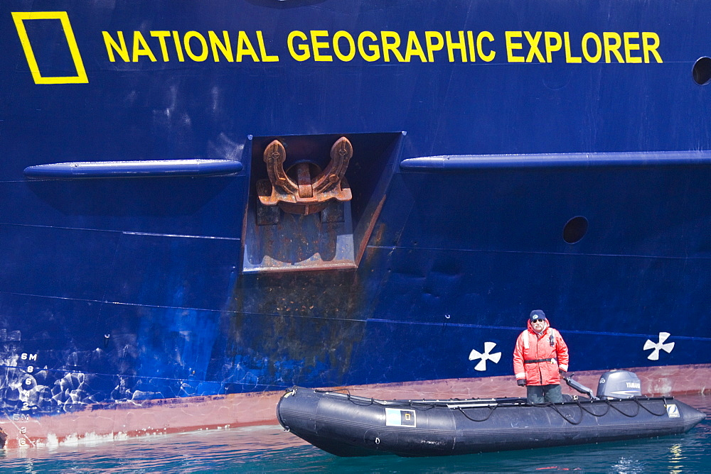 Staff from the Lindblad Expedition ship National Geographic Explorer Pete Puleston in Antarctica