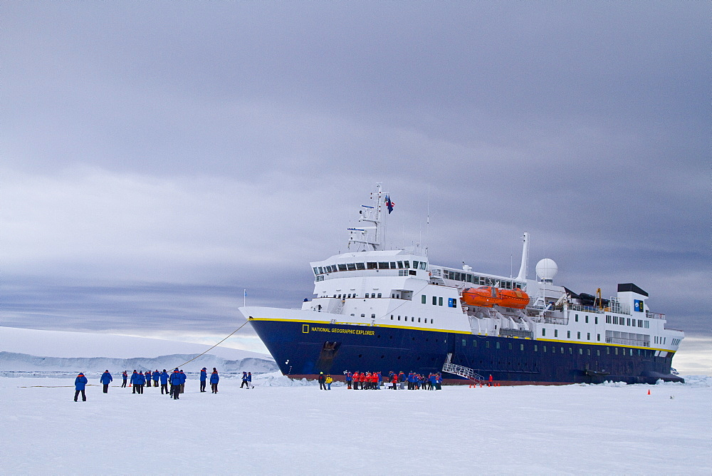 The Lindblad Expedition Ship National Geographic Explorer operating in Antarctica in the summer months.