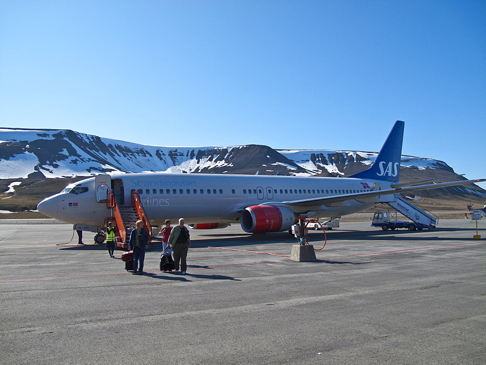 Guests from the Lindblad Expedition ship National Geographic Explorer doing deplaning in Longyearbyen, Svalbard Archipelago