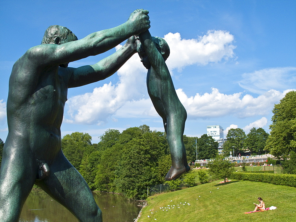 Scenic views of the Vigeland Sculpture Park in Oslo, Norway. MORE INFO Vigeland Sculpture Park is a part of Frogner Park, located 3km northwest of the city center. The park covers 80 acres and features 212 bronze and granite sculptures created by Gustav Vigeland. Vigeland personally sculpted every figure out of clay and individual craftsmen were contracted to fabricate the pieces into what they are today.