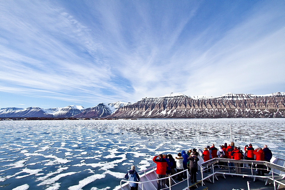 A view of Isfjorden (Ice fjord) on the western side of Spitsbergen Island in the Svalbard Archipelago, Norway.