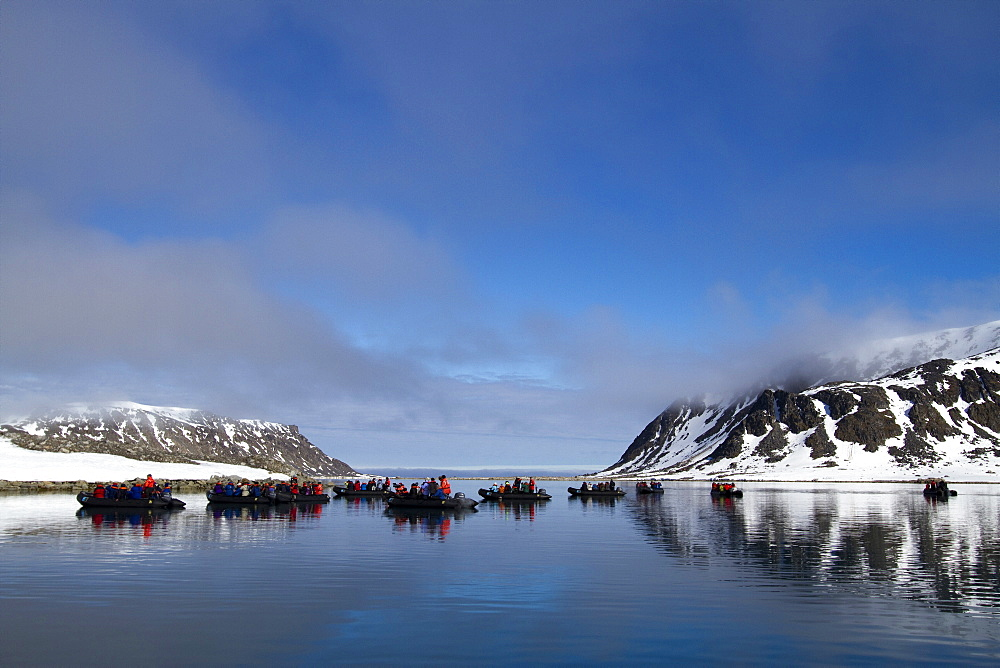 Staff from the Lindblad Expedition ship National Geographic Explorer in the Svalbard Archipelago, Norway