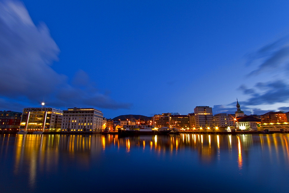 Views at night of the city of Bergen, Norway