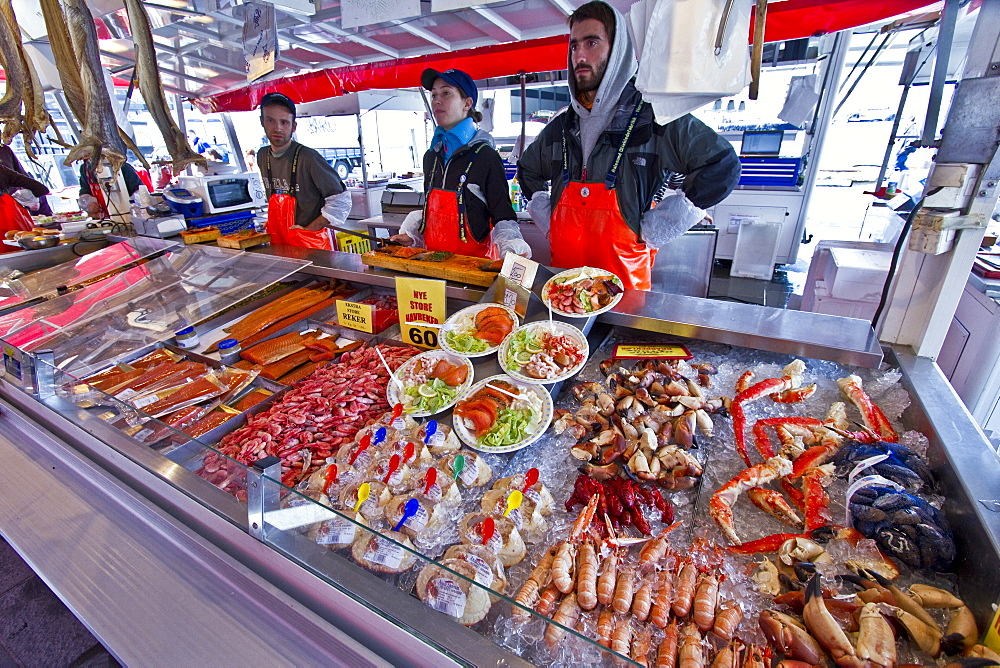 Views of the fish market in the city of Bergen, Norway