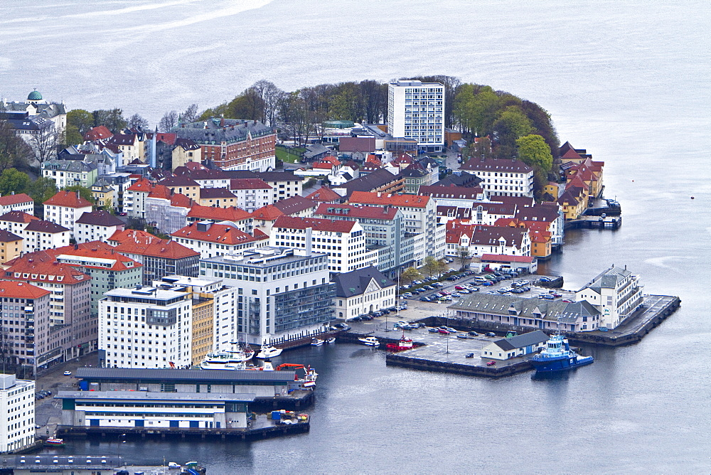 Views from the finicular overlooking the city of Bergen, Norway