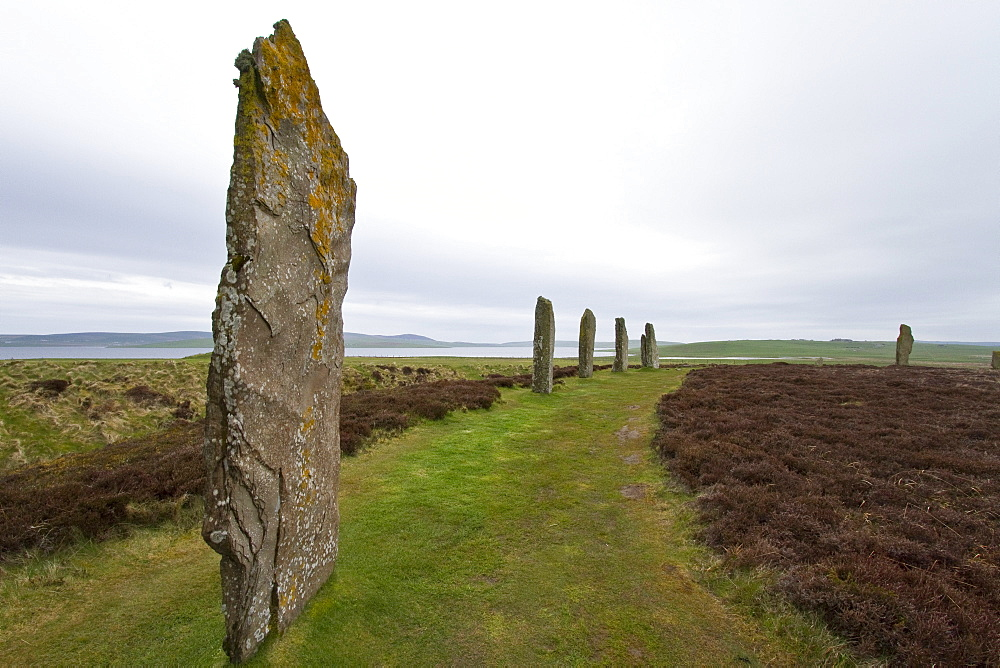 Ring of Brodgar, Orkney Islands, Scotland. MORE INFO This ring of standing stones was believed to have been built in 2,000 BC, before the time of the Great Pyramid. The circle originally had 60 stones arranged inside of a henge or ditch. Only 36 still sta
