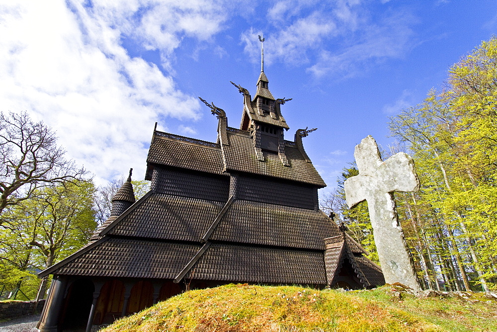Views from a classic stave church preserved in the city of Oslo, Norway. MORE INFO A stave church is a medieval wooden church with a post and beam construction related to timber framing. All of the surviving stave churches except one are or were in Norway, but related church types were once common all over northwestern Europe.