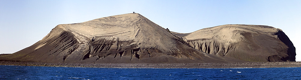 """Views of the volcanic island Surtsey (Icelandic, meaning """"Surtur's island""""), the southernmost point of Iceland. MORE INFO Surtsey was formed in a volcanic eruption which began 130 metres (426 ft) below sea level, and reached the surface on 14 November 1963. The eruption lasted until 5 June 1967, when the island reached its maximum size of 2.7 km2 (1.0 sq mi). Since then, wind and wave erosion have caused the island to steadily diminish in size: as of 2002, its surface area was 1.4 km2 (0.54 sq mi)."""