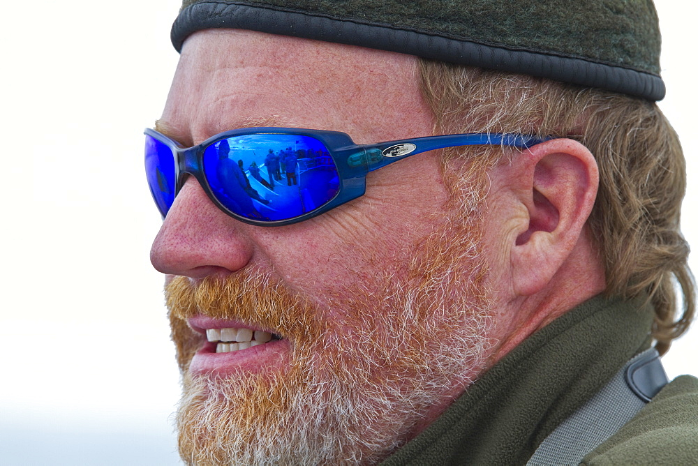 Staff from the Lindblad Expedition ship National Geographic Explorer (shown here is Peter Carey) working in Antarctica