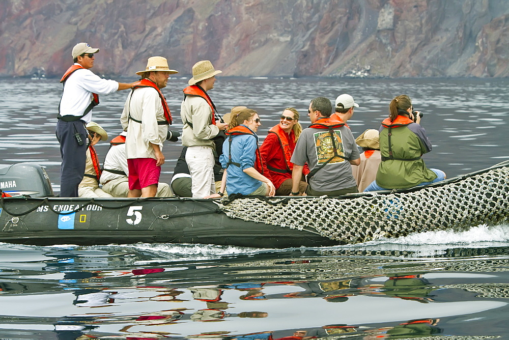 Guests from the Lindblad Expedition ship National Geographic Endeavour in the Galapagos Islands, Ecuador