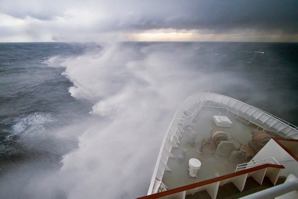 The Lindblad Expedition ship National Geographic Explorer in heavy seas on expedition in Antarctica