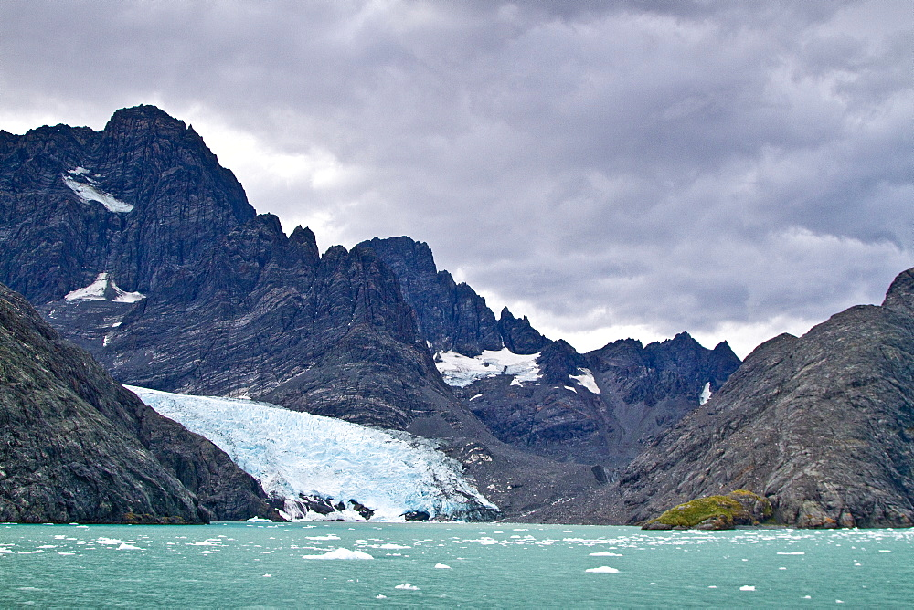Views of the glaciers and mountains of Drygalski Fjord on the southeast side of South Georgia, Southern Ocean